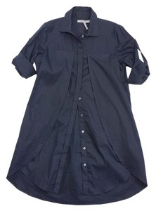 Halston Black Cotton Shirt Dress Button Down Shirt