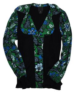Anna Sui Black Green Blue Floral Sweater Top