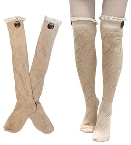 Other Diamond Pattern Lace Top Button Accent Knitted Boot Socks Knee Highs