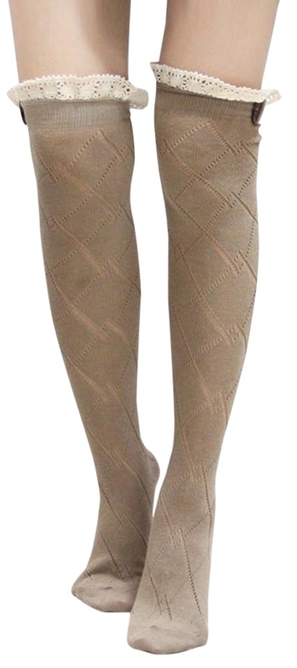 Beige Diamond Pattern Lace Top Button Accent Knitted Boot Knee Highs