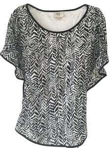 ECI New York Top Black and white Lace with white lining