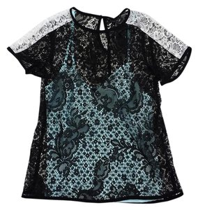Nanette Lepore Black White Lace Short Sleeve T Shirt