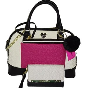 Betsey Johnson Cross Body Quilted Bows Matching Wallet Satchel in bone/black/fuchsia
