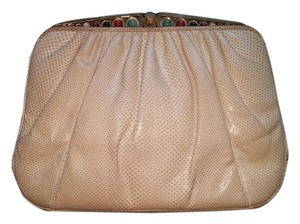 Judith Leiber Judith Snakeskin Leather Beige Clutch