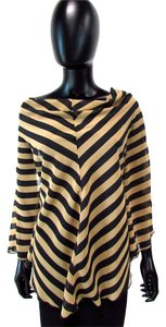 A'reve Lace Batwing Evening Blouse Striped Top Brown