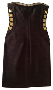 Hervé Leger Mahogany Gold Hardware Dress