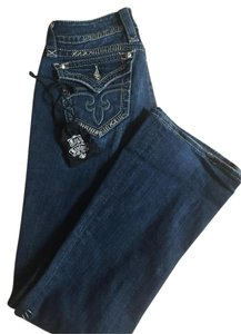 Rock Revival Silver Stitching Studded Boot Cut Jeans-Medium Wash