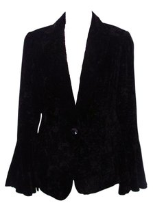 Lafayette 148 New York Long Sleeve Crushed Velvet Black Blazer
