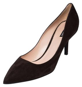 Giorgio Armani Armani Genuine Suede Pointed Toe Mid-heel Brown Pumps