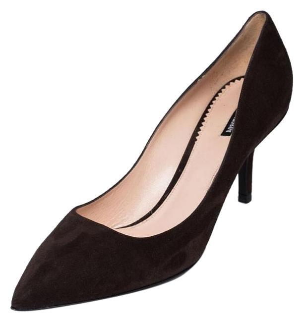Item - Brown New Women Genuine Suede Leather Mid-heel Pointed Pumps Size US 10.5 Regular (M, B)