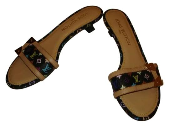 Louis Vuitton Size 37 Multi-color Monogram Leather Mules