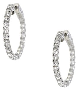 14K White Gold 0.93 Ct Diamond Small Hoop Earrings 5 Grams