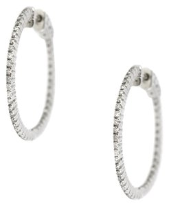 Other 14K White Gold 0.92Ct Diamond Circle Large Hoop Earrings 7 Grams