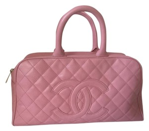 Chanel Caviar Leather Bowling Travel Shoulder Bag