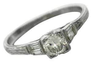 Other Ladies Antique Platinum Round Brilliant 0.52ct Diamond Engagement Ring