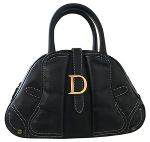 Dior Christian Leather Tote Saddle Satchel in Black