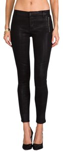 J Brand Wax Coated Lacquered Skinny Pants Black