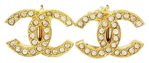 Chanel Vintage Chanel Gold Plated Rhinestone CC Clip on Earrings