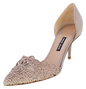 Giorgio Armani Genuine Suede Pointed Toe Mid-heel Bridal Beige Pumps