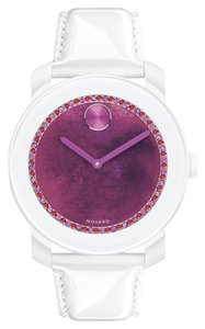Movado NWT Movado Bold 3600269 White Leather Purple Dial Womens Watch