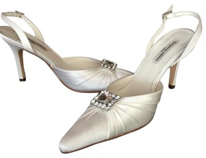 Benjamin Adams Rhinestone Pump White Duchess Silk Pumps