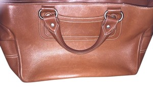 Céline Leather Silver Hardware Logo Engraved Tote in Brown