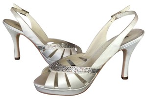 Benjamin Adams Platform Rhinestone White Duchess Silk Sandals