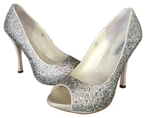 Benjamin Adams Rhinestone Peep Toe Ivory Duchess Silk Pumps