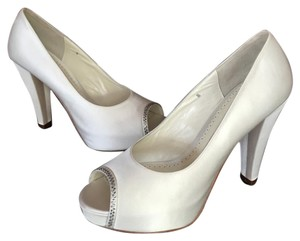 Benjamin Adams Platform Peep Toe White Duchess Silk Pumps