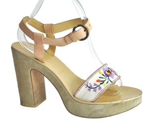 Miu Miu Embroidered Floral Canvas Multi-color Platforms