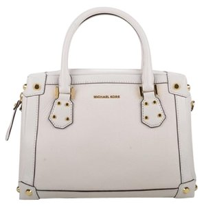 Michael Kors Taryn Md White Leather Satchel Cross Body Bag