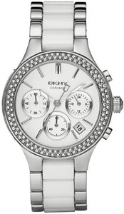 DKNY DKNY Women's Silver-tone Ceramic Glitz Chronograph Watch NY8181