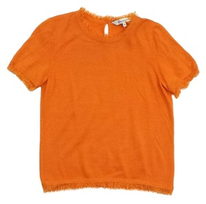 Oscar de la Renta Orange Cashmere Short Sleeve Sweater