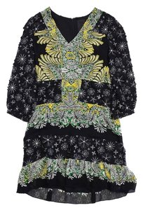 Anna Sui short dress Black Multi Color Floral Silk Long Sleeve on Tradesy