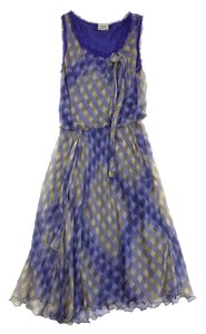 Purple Print Raw Edge Detail Dress