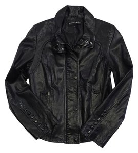 Andrew Marc Black Leather Bomber Jacket