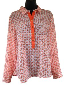 Jones New York Button Down Shirt orange, white