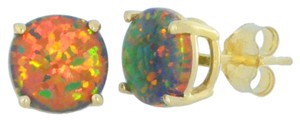 Elizabeth Jewelry 14Kt Yellow Gold Black Opal Round Stud Earrings