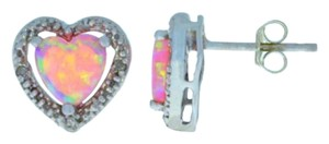 Elizabeth Jewelry Pink Opal & Diamond Heart Stud Earrings .925 Sterling Silver