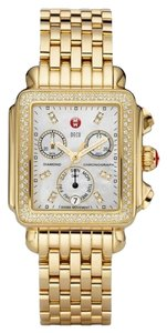 Michele NEW Authentic Michele Deco Diamond Dial Gold MWW06P000100 Watch