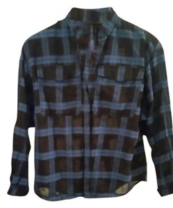 Burberry Brit Button Down Shirt Black and blue