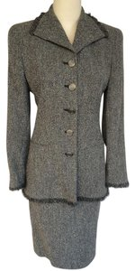 Louis Feraud Louis Feraud gray tweed skirt suit jacket blazer.