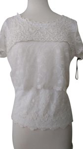 grisbi Stretch Micro-fiber Front Lace Overlay Short Sleeved Sheer Lace Sleeves Scooped Neck T Shirt Off White