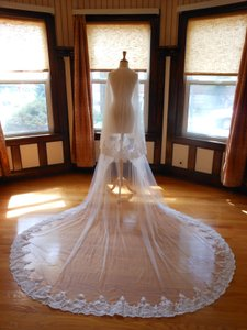 Two Tier Cathedral Bridal Veil With Lace Applique Edge