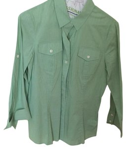 Theory Three-quarter Sleeve Slim Fit Like New Button Down Shirt Green stripe