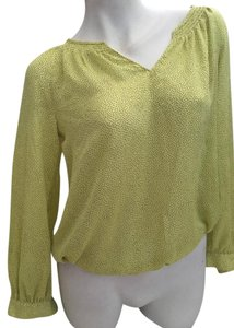 Ann Taylor LOFT Sheer Polka Dot Petite Top Yellow