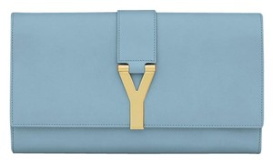 Saint Laurent Classic Y Ysl Glacier Blue Clutch