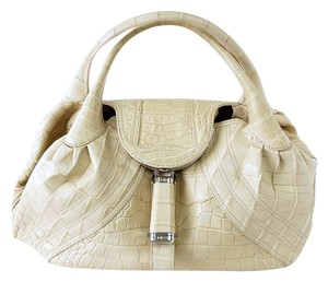 Fendi Spy Matte Crocodile Tote in Cream