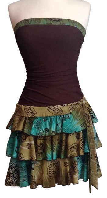 Item - Brown with Green 1154a38 Above Knee Night Out Dress Size 4 (S)