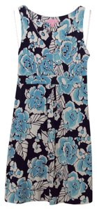 Lilly Pulitzer short dress navy Floral Blue V-neck on Tradesy